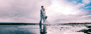 Wedding couple on the beach in Dun Laoghaire